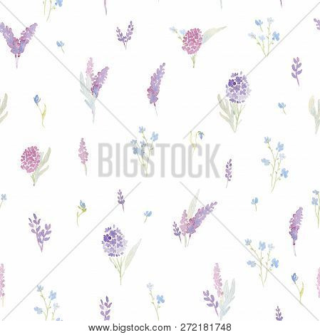 Gentle Seamless Pattern With Pink And Purple Hydrangea And Forget Me Not Flowers. Romantic Garden Fl