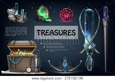 Realistic Treasures Colorful Composition With Jewels Gemstones Jewelry Chest Of Gold Coins Pearl Nec