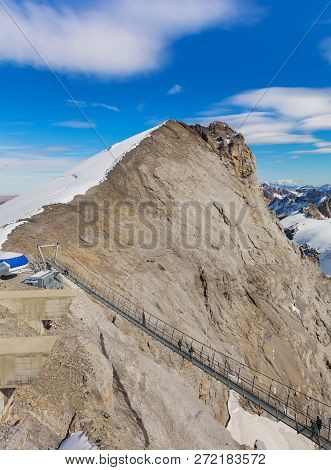 Mt. Titlis, Switzerland - October 12, 2015: View From The Top Of The Mountain, Titlis Cliff Walk Sus