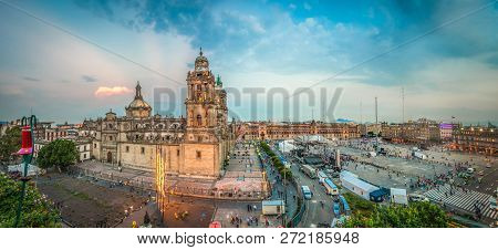 Zocalo square and Metropolitan cathedral of Mexico city poster