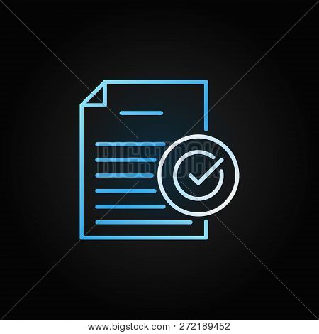 Document With Check Mark Outline Vector Colored Icon. Document Verification Concept Symbol Or Design