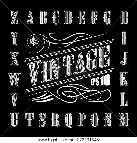 Alphabet Letters Vintage Set Western Vector Illustration