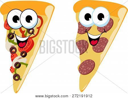 Slice Of Fresh Italian Classic Original Pepperoni Pizza And Mushroom Pizza Isolated On White Backgro