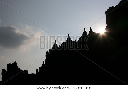 Borobudur temple with flare lighting