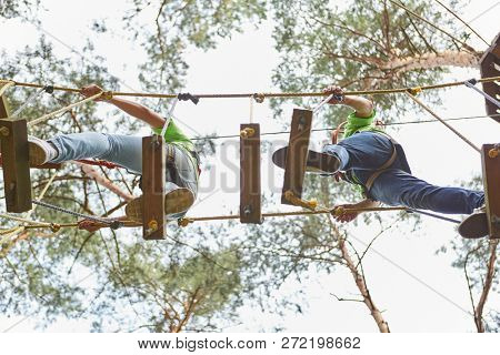 Team balances on a bridge with high difficulty in the high ropes course