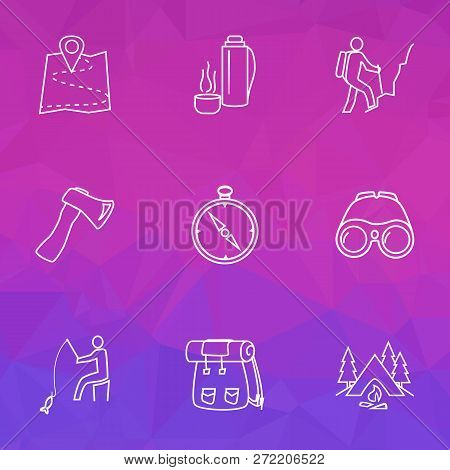 Tourism Icons Line Style Set With Binoculars, Hiking Man, Axe And Other Fisherman Elements. Isolated