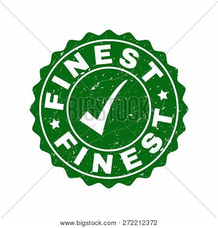 Vector Finest Scratched Stamp Seal With Tick Inside. Green Finest Imprint With Draft Surface. Round