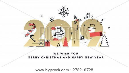Merry Christmas And Happy New Year 2019 Business Greeting Card. Vector Illustration Concept For Back