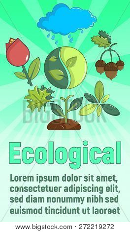 Ecological Concept Banner. Cartoon Banner Of Ecological Vector Concept For Web, Giftcard And Postcar