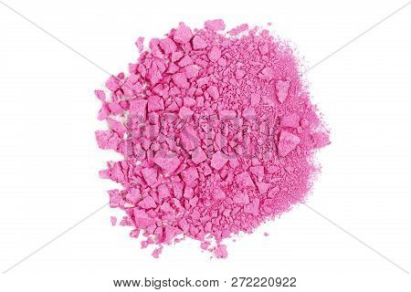 Closeup Of Crushed Pink Watercolor Paint Isolated