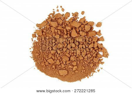 Closeup Of Crushed Brown Watercolor Paint Isolated