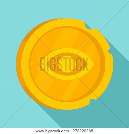 Ancient Gold Coin Icon. Flat Illustration Of Ancient Gold Coin Vector Icon For Web Design