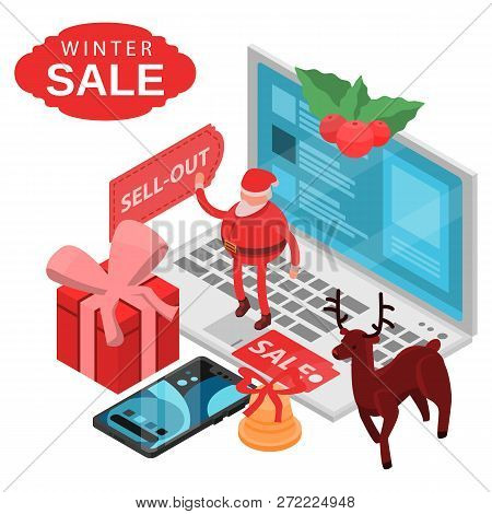 Winter Final Sale Concept Background. Isometric Illustration Of Winter Final Sale Vector Concept Bac