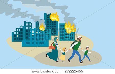 Family Run Away Destroyed City Concept Banner. Flat Illustration Of Family Run Away Destroyed City V