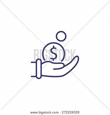 Coin In Hand Line Icon. Hand With Coins On White Background. Finance Concept. Vector Illustration Ca