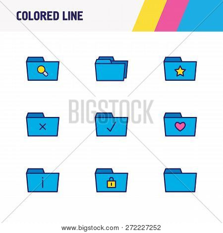 Vector Illustration Of 9 Folder Icons Colored Line. Editable Set Of Protection, Checked Folder, Dele