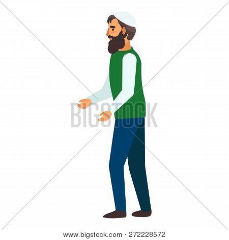 Refugee Man Hopeless Icon. Flat Illustration Of Refugee Man Hopeless Vector Icon For Web Design