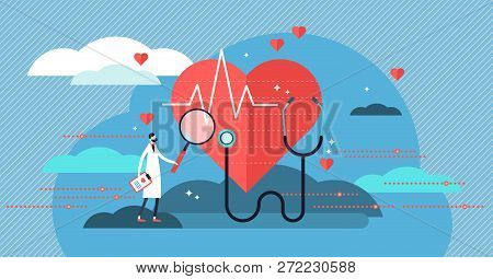 Cardiologist Vector Illustration. Mini Person Concept With Heart Health Job. Doctor With Stethoscope