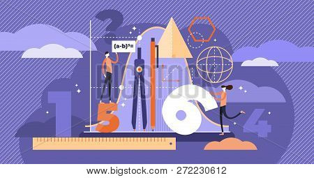 Mathematics Vector Illustration. Flat Mini Persons Education Concept. Algebra Symbols With Geometry
