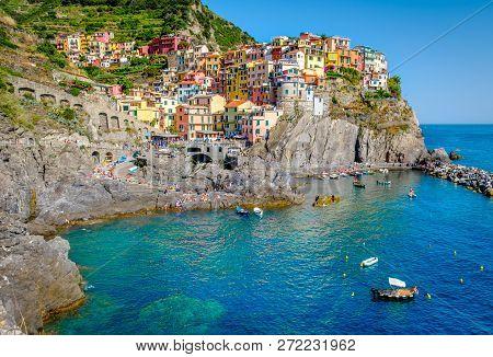 View Of The Village Of Manarola, Cinque Terre, Italy.