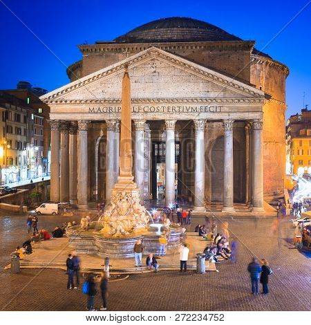 Pantheon At Evening In Rome, Italy, Europe. Ancient Roman Architecture And Landmark