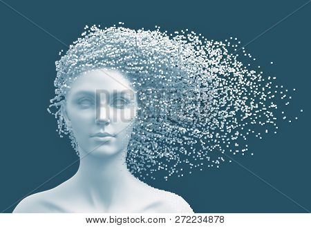 Head Of Young Woman And 3d Pixels As Hair On Blue Background. 3d Illustration.
