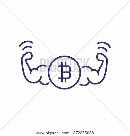Power Of Bitcoin Line Icon. Two Strong Muscle Arms With Bitcoin Sign On White Background. Cryptocurr