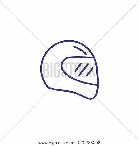 Racing Helmet Line Icon. Headpiece On White Background. Sport Concept. Vector Illustration Can Be Us