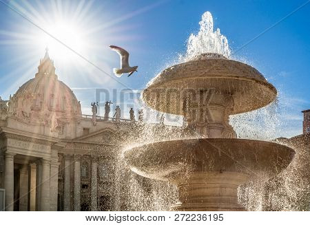 Saint Peter Colonnade Of Papal Basilica At Sunset, Rome, Italy, Europe.