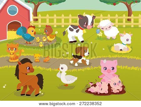 Cute Baby Farm Animals With Village Landscape - Cow, Pig, Sheep, Horse, Rooster, Chicken, Hen, Goose