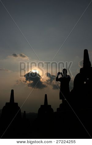 tourists at Borobudur