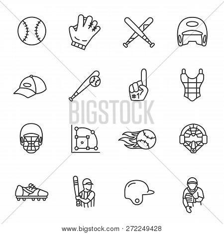 Baseball, Icon Set. Line With Editable Stroke