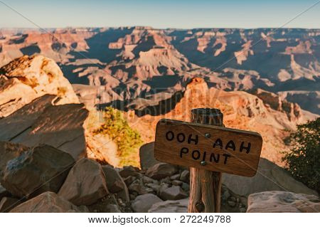 A Sign Of Ooh Aah Point On The South Kaibab Trail At Grand Canyon National Park