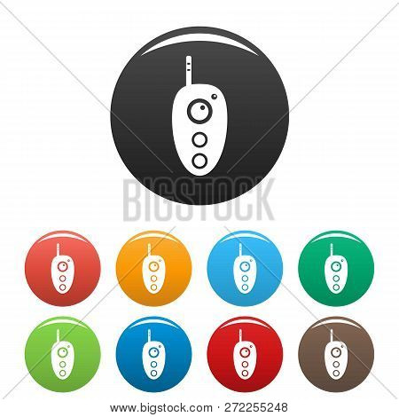 Remote Controller Icons Set 9 Color Vector Isolated On White For Any Design