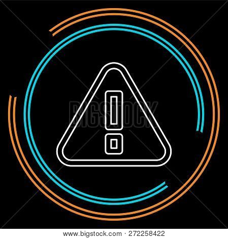 Attention Sign - Caution Alert Symbol - Exclamation Mark Illustration, Attention Icon. Thin Line Pic
