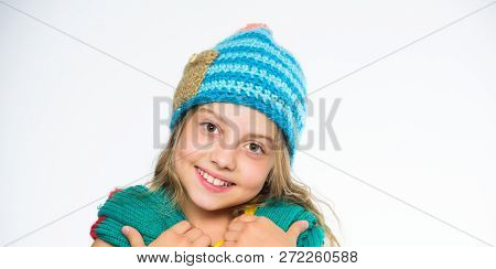 Girl Long Hair Happy Face White Background. Which Fabrics Will Keep You Warmest This Winter. Hat And