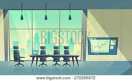 Cartoon Illustration Of Modern Conference Hall, Room For Meetings And Business Trainings, Interior W