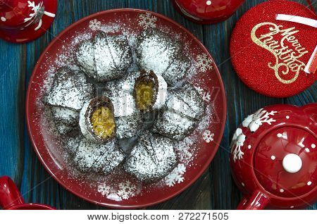 Chocolate Bagels With Dried Apricots Nuts And Orange