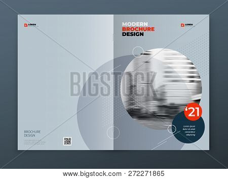 Brochure Cover Design. Blue Corporate Business Rectangle Cover Template Brochure, Report, Catalog, M