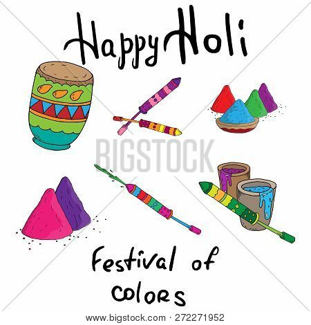Hand Drawn Colorful Happy Holi Background For Festival Of Colors Celebration Greetings. Indian Holid