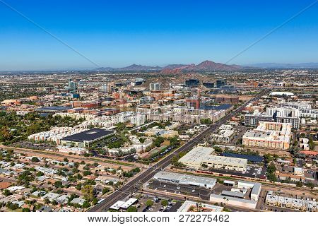 Tempe, Arizona Skyline Viewed From The Southeast To The Northwest From Above With Clear Blue Sunny S