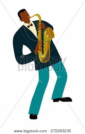 Isolated Black Man Playing Sax Cartoon Character, Flat Doodle Vector