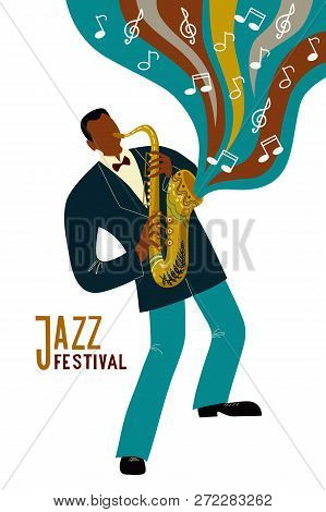 Isolated Black Man Playing Sax Cartoon Character And Notes, Flat Doodle Vector
