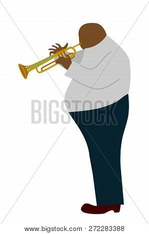 Isolated Fat Black Man Playing Trombone Cartoon Character, Flat Doodle Vector