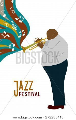 Isolated Black Fat Man Playing Trombone Cartoon Character And Notes, Jazz Festival Lettering, Flat D