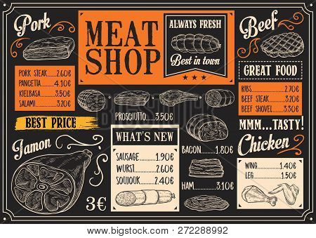 Butchery Products Chalk Sketch. Vector Menu With Bacon Or Pork Steak, Ham And Salami, Kielbasa And S