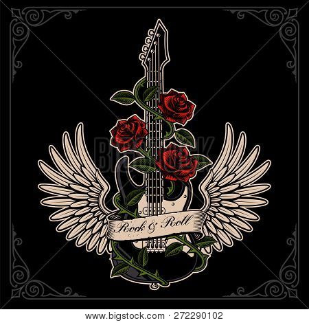 Vector Illustration Of Guitar With Wings And Roses In Tattoo Sty