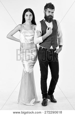 Bearded Hipster With Bride Dressed Up For Wedding Ceremony. Wedding Concept. Couple In Love, Bride A