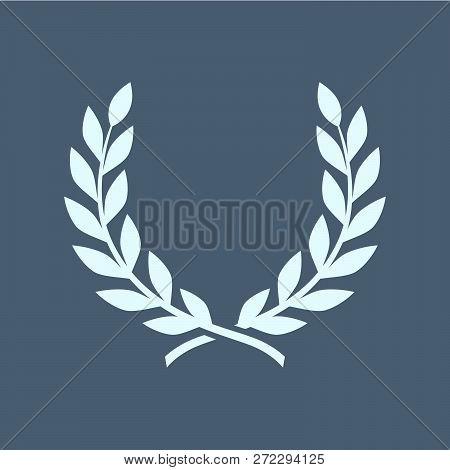 Branches Of Olives, Symbol Of Victory, Vector Illustration, Flat Silhouette Icon, Object For Design,
