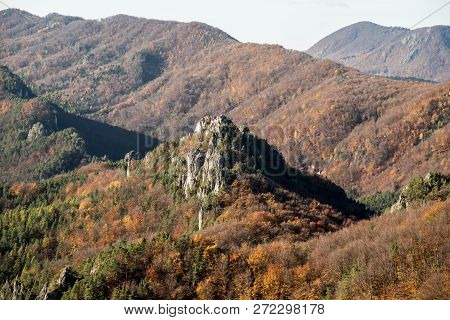 Autumn Mountain Scenery Of Sulovske Skaly Mountains From Stefanikova Vyhliadka In Slovakia With Hill